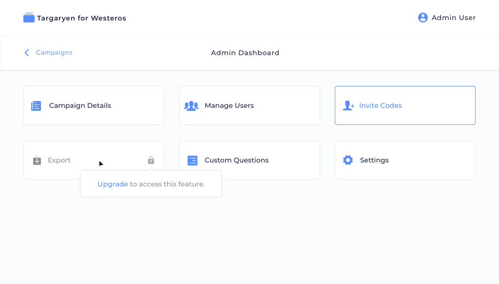 The Admin Dashboard on Desktop
