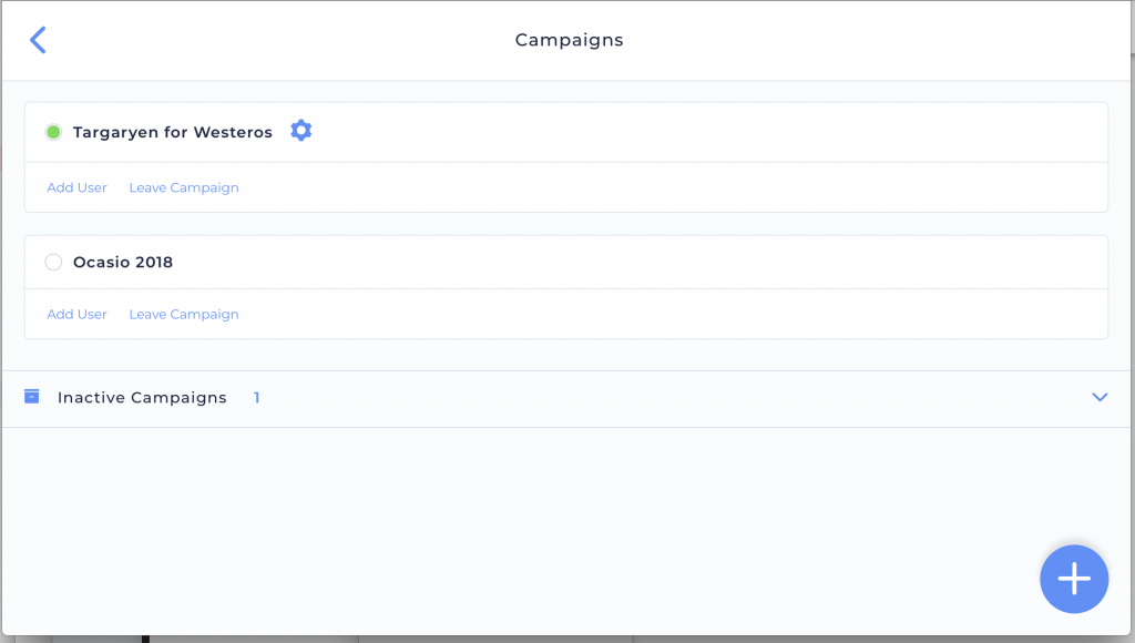 Admin's view of the Campaign Manager screen on desktop.