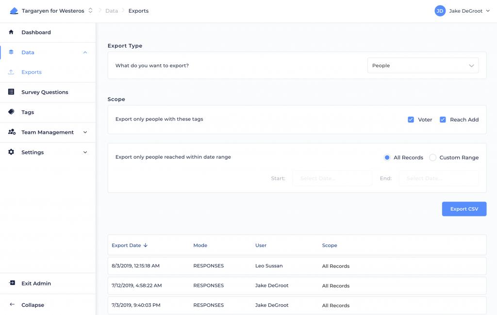 Admin Exports Screen