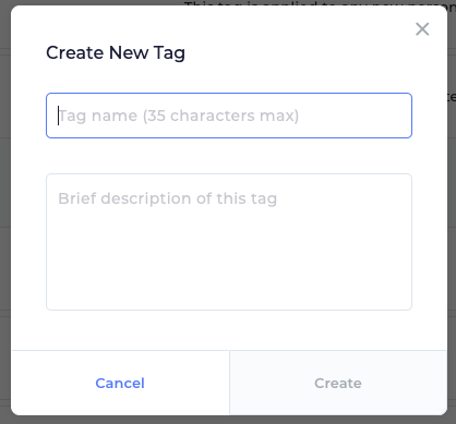 "This is the window that comes up when you click on the ""Add New Tag"" button. This window has an entry to name the tag, and a larger entry to describe the tag."
