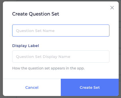 This image depicts the window that comes up when you click to add a question set.