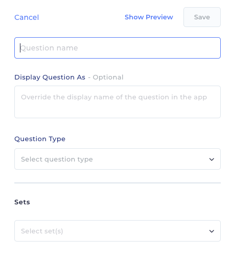 This image depicts the window that comes up when you decide to add a new question in Reach.