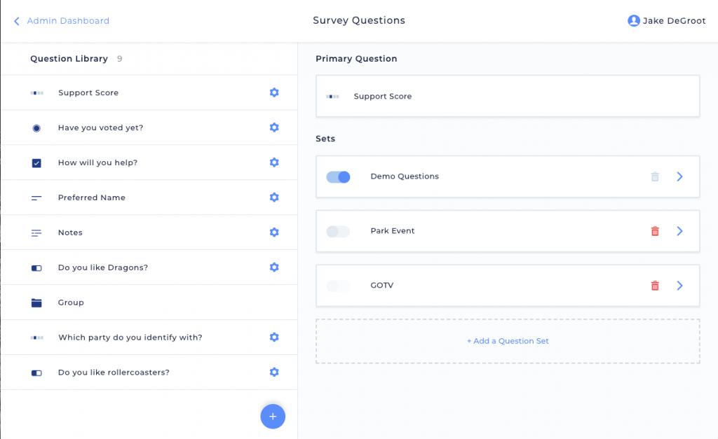 Survey Questions Admin Screen