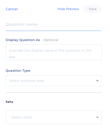 New Question Panel