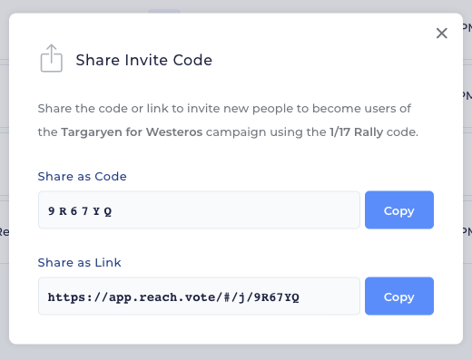 Invite Code Share Modal Screenshot